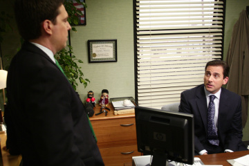 "THE OFFICE - Ed Helms as Andy Bernard, Steve Carell as Michael Scott in ""The Chairmodel"""