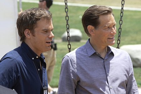 Michael C. Hall as Dexter and James Remar as Harry Morgan