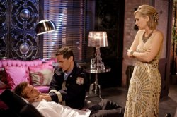 Smallville - Justin Hartley as Oliver Queen, Sam Witwer as Davis Bloom, and Allison Mack as Chloe Sullivan