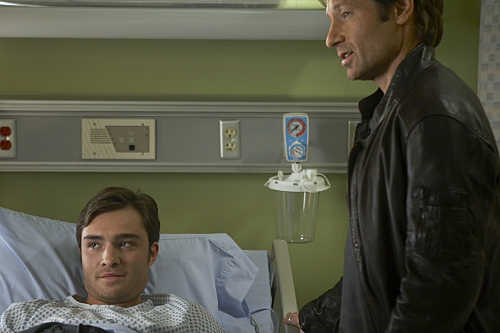 Ed Westwick as Balt and David Duchovny as Hank in Californication