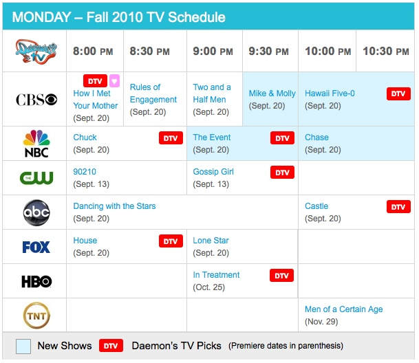 Monday Fall 2010 Daily TV Schedule - Daemon's TV