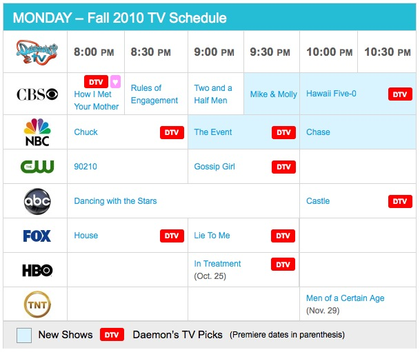 Monday Fall 2010 TV Daily Schedule - Daemon's TV