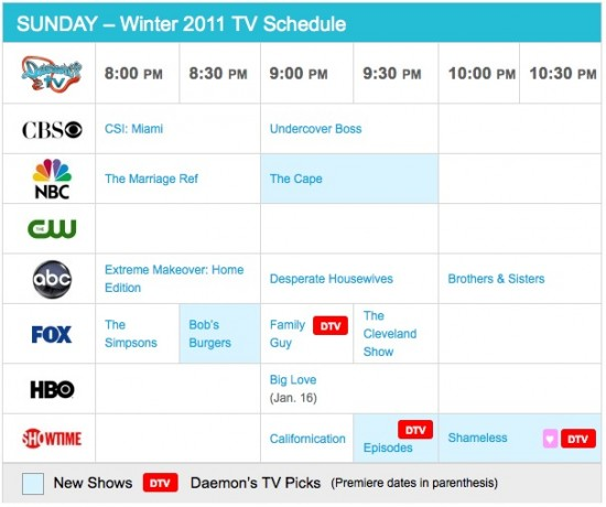 Sunday Winter 2011 TV Daily Schedule - Daemon's TV