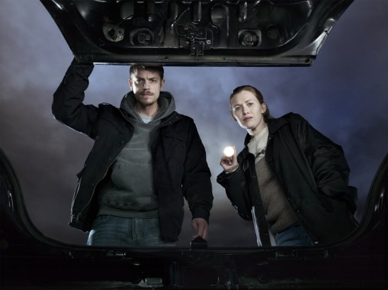 The Killing AMC Detectives Stephen Holder (Joel Kinnaman) and Sarah Linden (Mireille Enos)