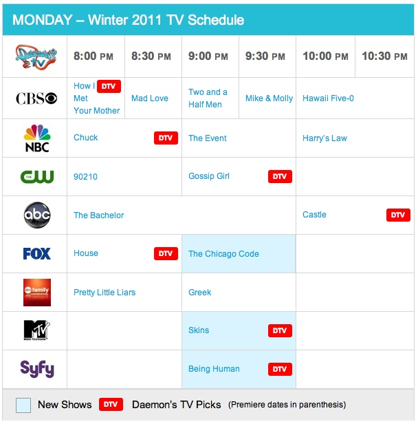 Monday Winter 2011 TV Daily Schedule - Daemon's TV