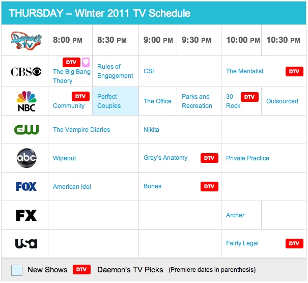 Thursday Winter 2011 TV Daily Schedule - Daemon's TV