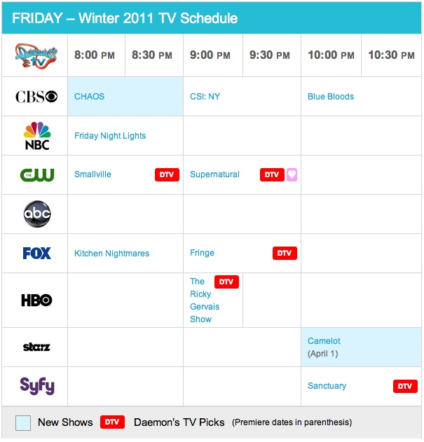 Friday Spring 2011 TV Daily Schedule - Daemon's TV