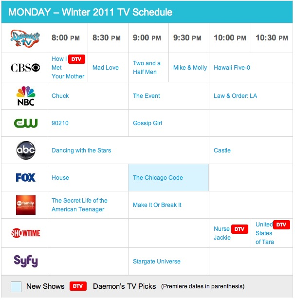 Monday Spring 2011 TV Daily Schedule - Daemon's TV