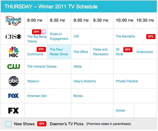 Thursday Spring 2011 TV Daily Schedule - Daemon's TV