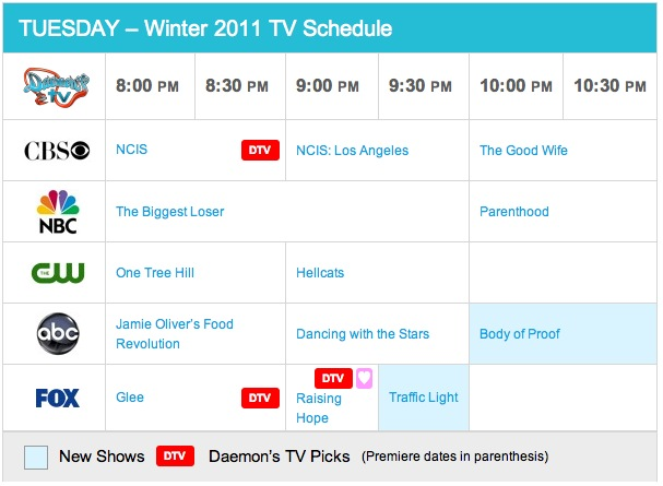 Tuesday Spring 2011 TV Daily Schedule - Daemon's TV