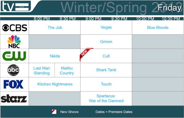TV Schedules Winter Spring 2013 Friday 2