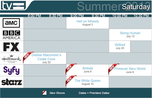 TV Equals Schedules Summer 2013 Saturday