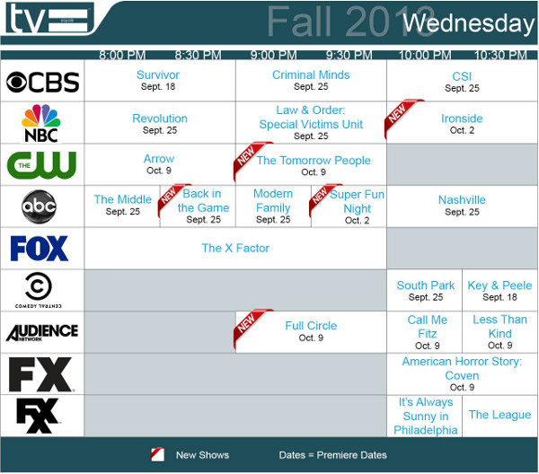 TV Equals Schedules Fall 2013 Wednesday