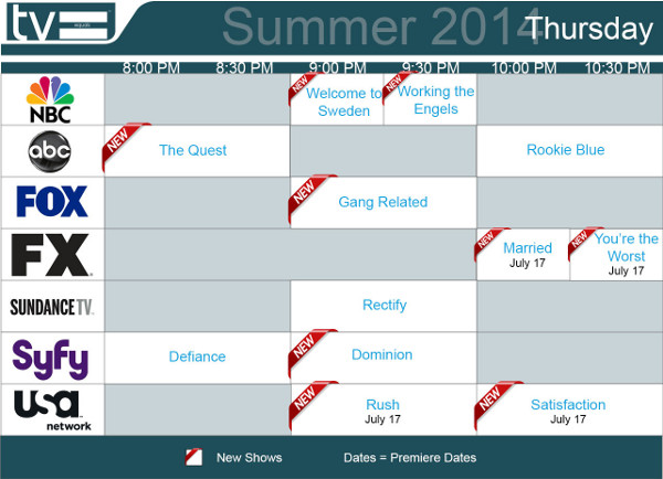 TV Equals Summer 2014 Thursday
