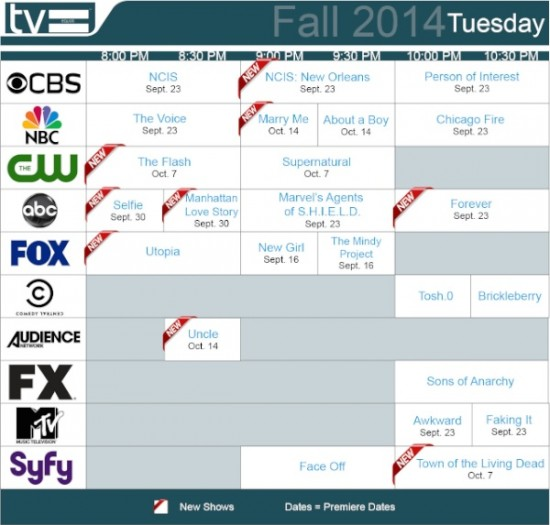 TV Schedules Fall 2014 Tuesday