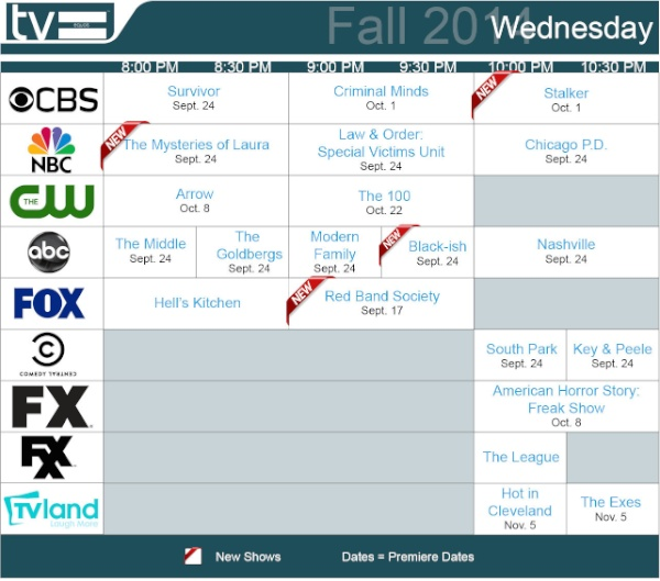 TV Schedules Fall 2014 Wednesday