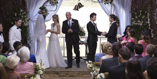 "It's a double wedding as both ""Klaine"" and ""Brittana"" tie the knot."