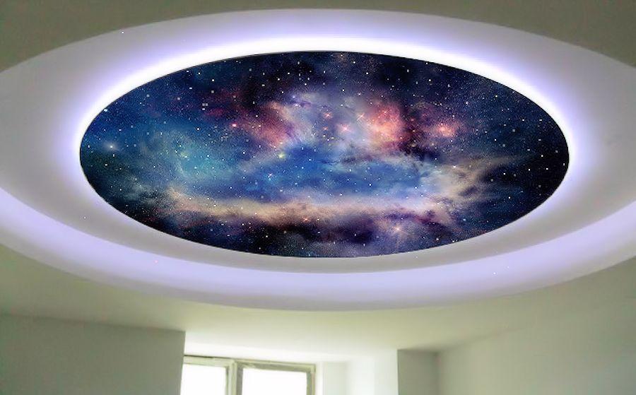 Двух-уровневый-потолок-с-фотопечатью-и-эффектом-звездное-небо