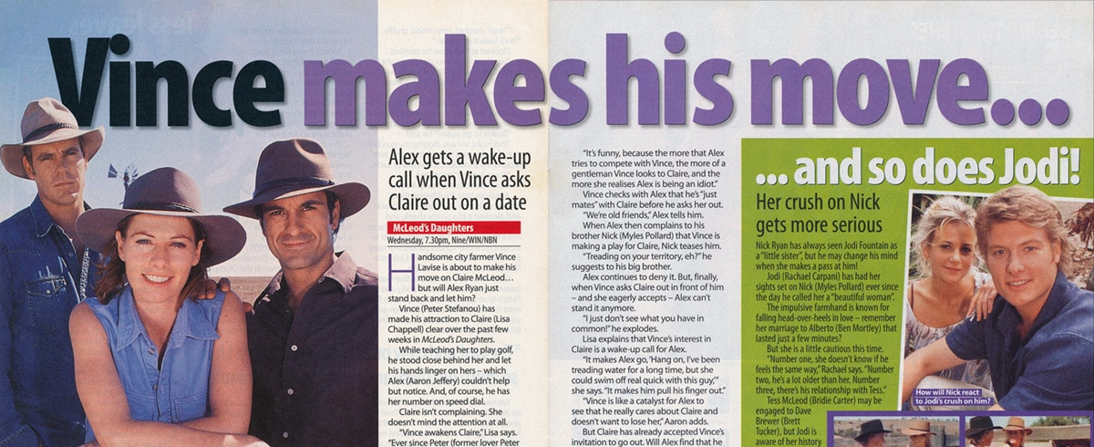 """TV Week: """"Vince makes his move…"""" McLeods Daughters 30th August 2003"""