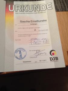 Urkunde 2. DAN - Sascha Ernsthuneke
