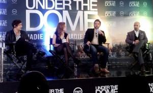 Mike Vogel, Rachelle Lefevre y Dean Norris durante la presentación de Under the dome en Latinoamérica