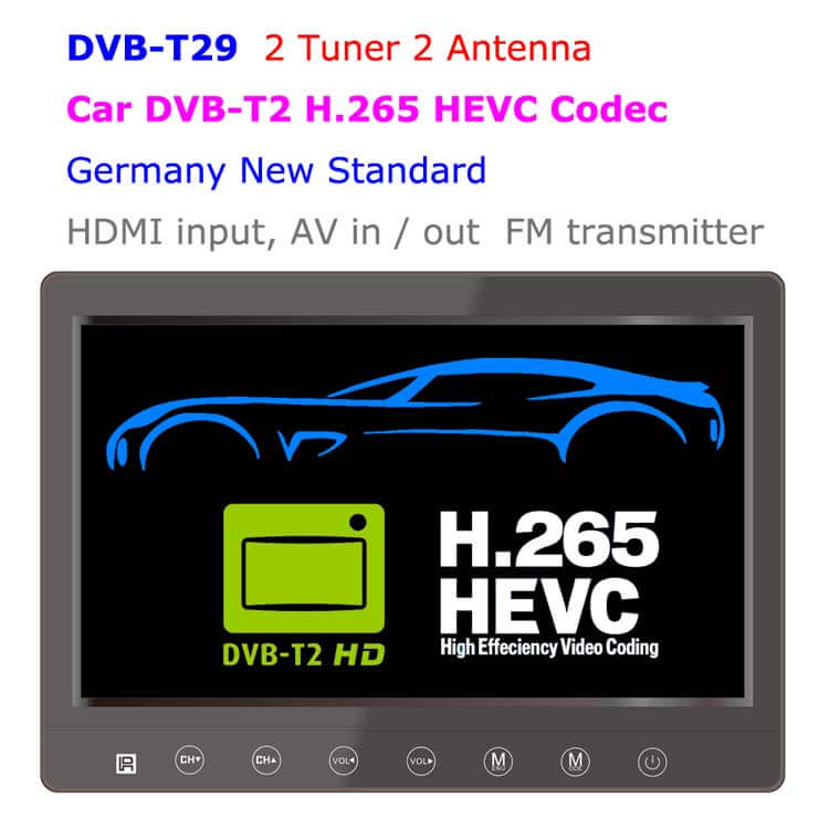 9 inch portable DVB-T2 LCD TV monitor