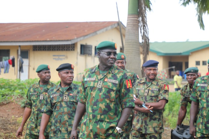 Gen Buratai Inspecting projects at the Ikeja cantonment in Lagos
