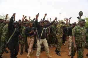 Loud Jubilation by  troops of Forward Operating Base Daura  during COAS  visit to the Base