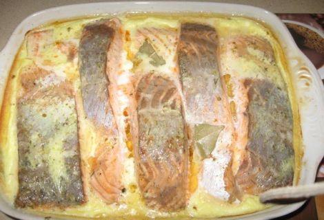Запеченный лосось в сливочном соусе. Подойдет любая красная рыба.