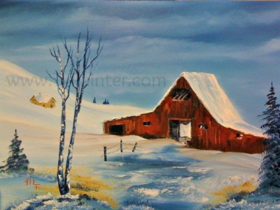 winter's-red-barn-art-lessons