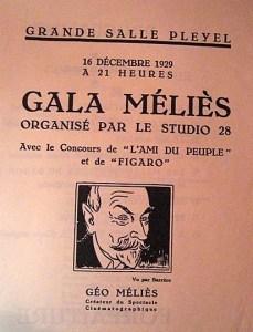 Page couverture du programme du Gala Méliès en 1929