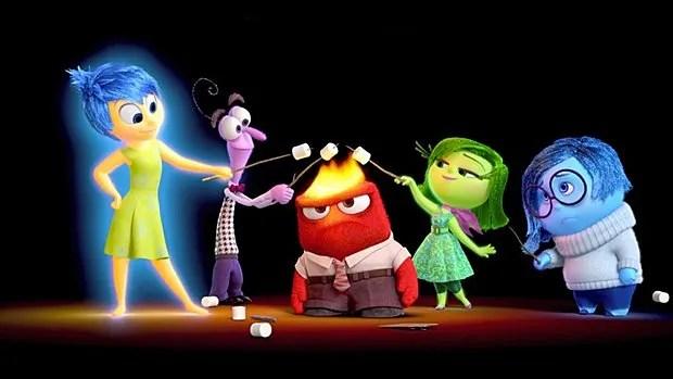 De gauche à droite : Joie, Peur, Colère, Dégoût et Tristesse.