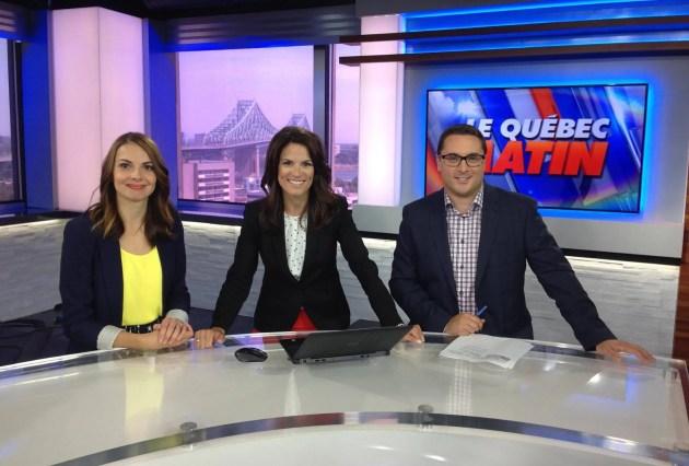 Québec Matin avec, de gauche à droite, Claudia Néron, Julie Marcoux et Louis-Simon Lapointe.
