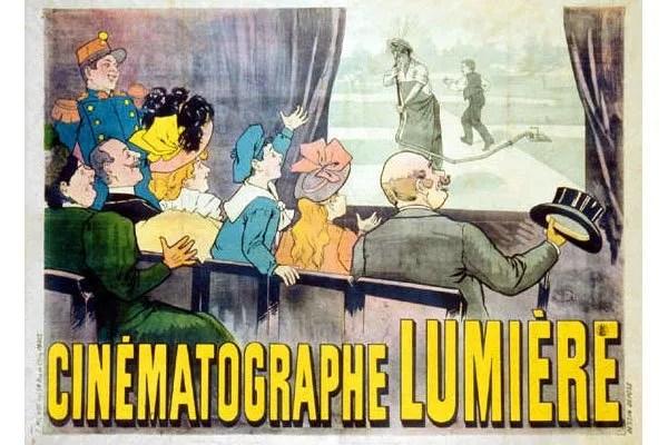 La première affiche de l'histoire du cinéma réalisée par Marcel Auzolle en 1896.