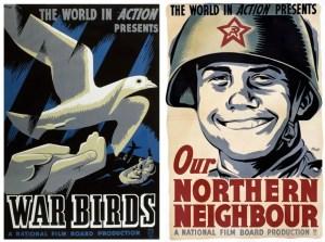 Deux affiches de Harry Mayerovitch pour la série World in Action.