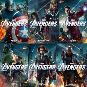 Affiches promotionnelles des personnages pour le film The Avengers (2012).
