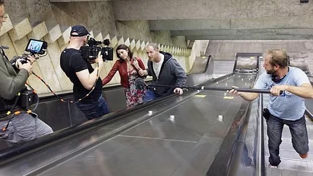 Mylène St-Sauveur et Alexandre Goyette en plein tournage.