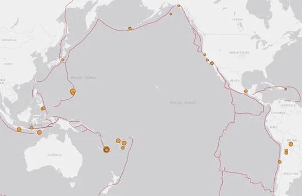 Ring of Fire: lieux de tremblement de terre au cours des dernières 24 heures