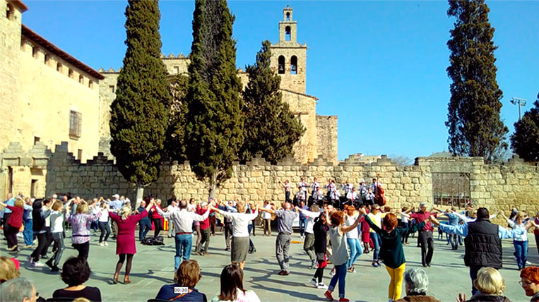 Una cinquantena de persones ballen sardanes a la Plaça Octavià
