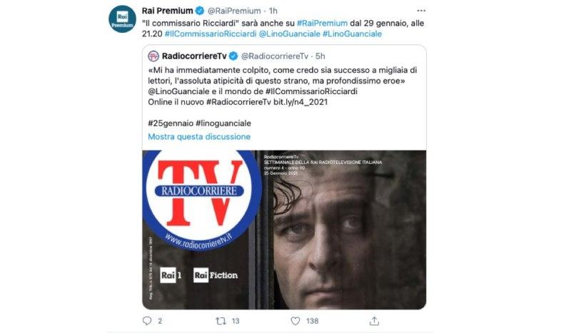 Screenshot di Un Tweet Condivido Sul Profilo Ufficiale Di Rai Premium