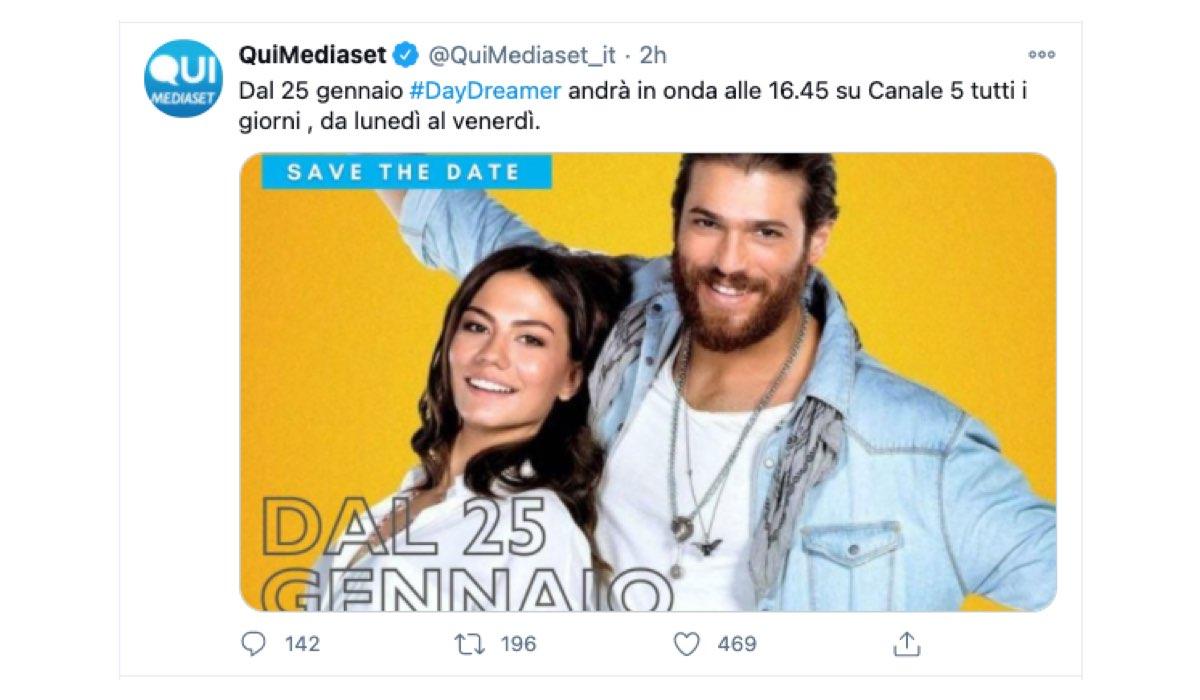 Screenshot Di Un Tweet Condiviso Sulla Pagina Twitter Ufficiale Di @Quimediaset