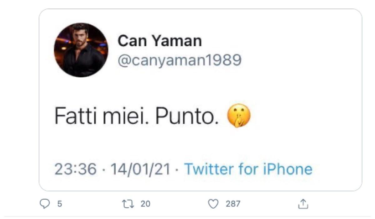 Screenshot Di Un Tweet Di Can Yaman dove risponde ai Gossip