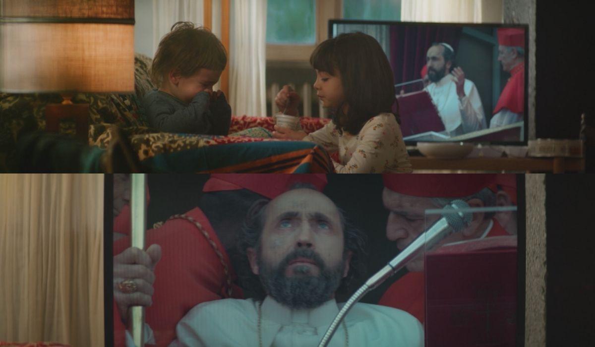 """Sergio Albelli nei panni del Papa in una scena del sesto episodio di """"Anna"""". Credits: Sky."""