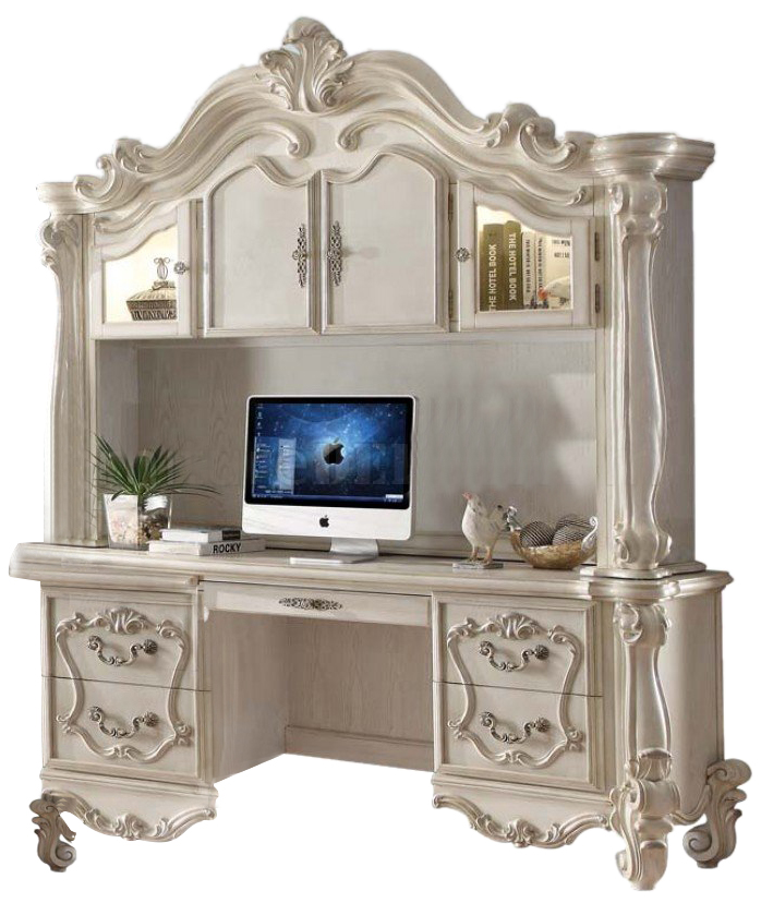 Acme Versailles Computer Desk W Hutch In Bone White 92278