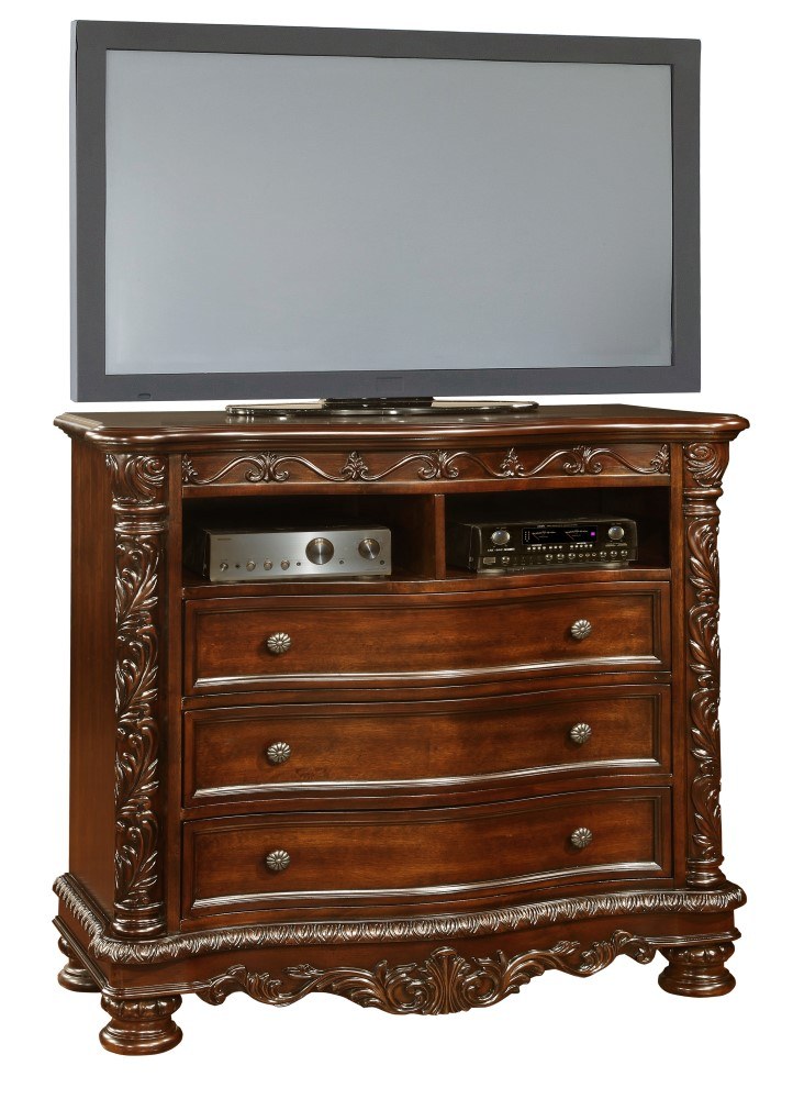 Oasis Home Patterson Media Chest In Rich Pecan 6535 05