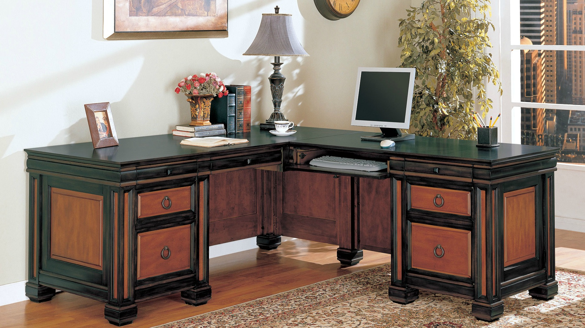 Coaster Tate Home Office L Shaped Desk In Two Tone Finish