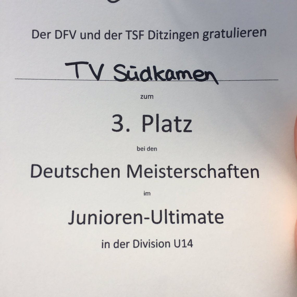 Platz 3 bei Junioren DM