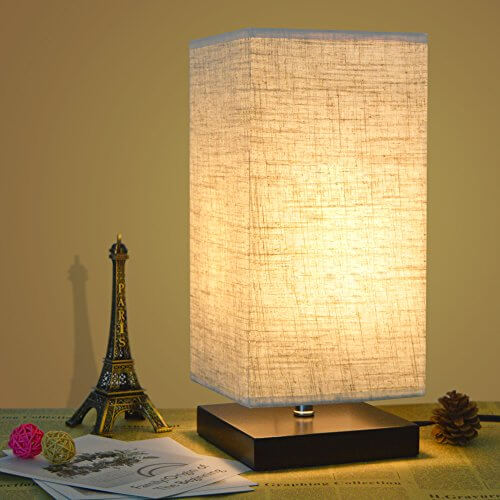 Bedside Table Lamp With Fabric Shade and Solid Wood