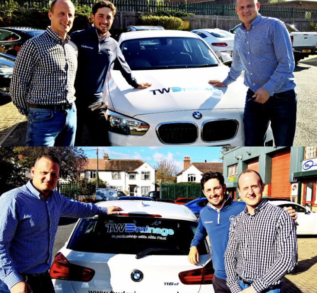 Professional golfer Alfie Plant with a TW Drainage-branded BMW