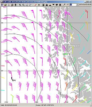 ViewFax screen capture with wind forecast